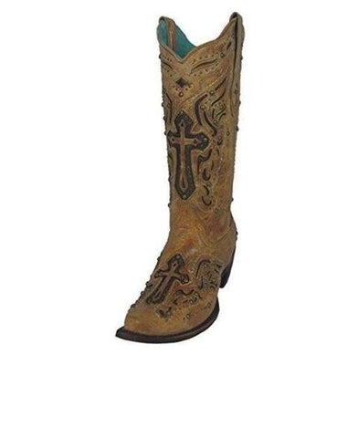 Corral Women's Antique Saddle/Brown Studded Cross Inlay Snip Toe Cowgirl Boot