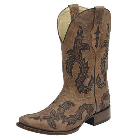 CORRAL Men's Tan With Chocolate Inlay Square Toe Cowboy Boots - G1137