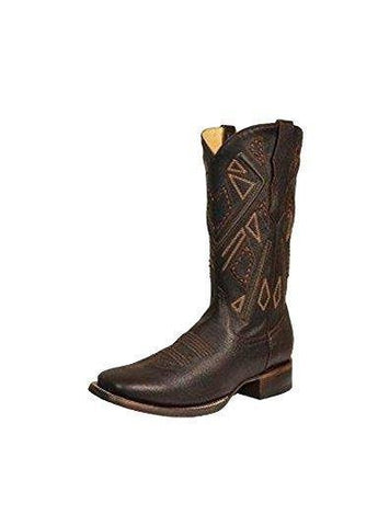 Men's Chocolate Embroidery Square Toe Cowboy Boots - R1449