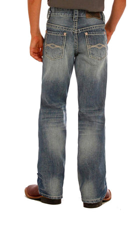 Rock & Roll Cowboy Boys' Blue Embroidery Jeans Boot Cut - BB-1468 7R