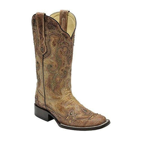 Women's Cognac Antique Saddle Cowgirl Boot Square Toe - G1212