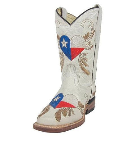 Kids' White Texas Flag Embroidered Heart Square Toe Cowboy Boots - G1196