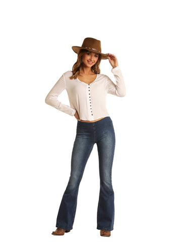 Rock and Roll Cowgirl High-Rise Pull-On Flare in Medium Wash W1P6100