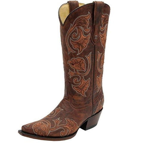 Women's Floral Full Stitch Snip Toe Cowgirl Boots - G1122
