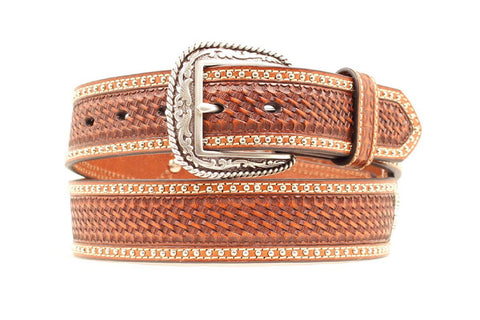 Men's Scalloped Braid And Stud Belt