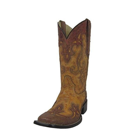 Men's Antique Saddle With Cognac Overlay Square Toe Cowboy Boots - G1202