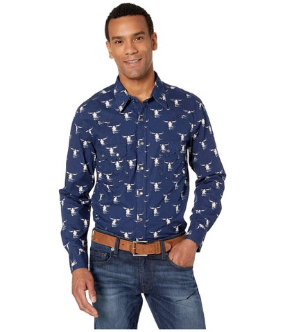 Rock & Roll Cowboy Steer Skull Print Long Sleeve Snap Shirt - B2S1133