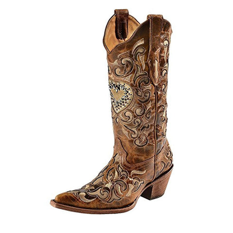 Women's Sand Maipo Crystal Heart Pointed Toe Cowgirl Boots - C1151