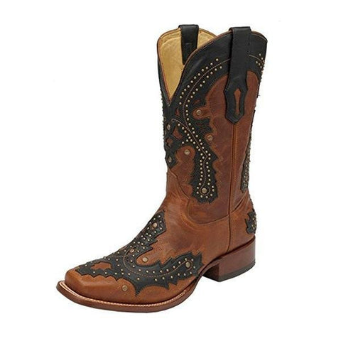 Corral Men's Studded Overlay Square Toe Cowboy Boots