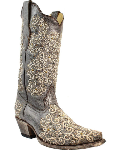 CORRAL Women's Grey Floral Embroidered Studs and Crystals Cowgirl Boot Snip Toe Grey