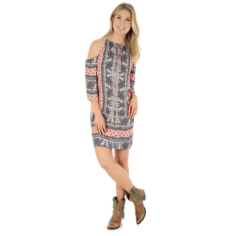 Wrangler Women's Halter Cold Shoulder Printed Dress Rose-Multi - LWD696M
