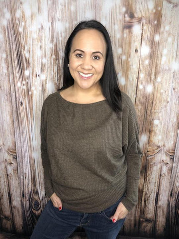 Giving You The Shoulder Top Mocha - Sweetly Styled Market