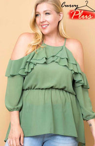 Solid Ruffled Cold Shoulder Top Sage - Sweetly Styled Market
