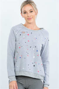 Grey Paint Splatter Distressed Front Pullover