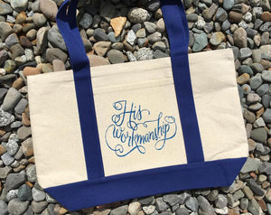 His Workmanship Canvas Tote Blue - Sweetly Styled Market