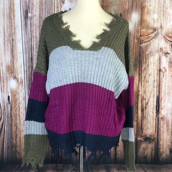 Heavy Distressed Chunky Knit Sweater Orchid