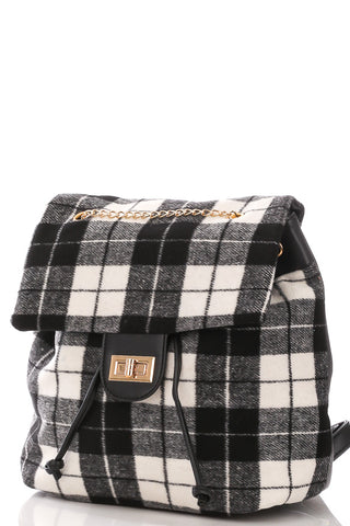 Plaid Top Flap Backpack White