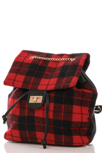 Plaid Top Flap Backpack Red