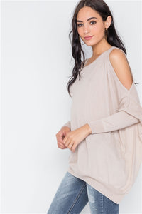 Asymmetrical Hem Seamed Cold Shoulder Sweater Top Almond