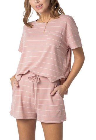 Relaxed Fit Striped Shorts Mauve