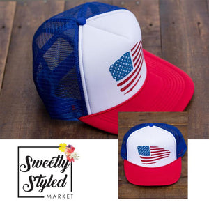 American Flag Trucker Hat Red White Blue Sweetly Styled Market