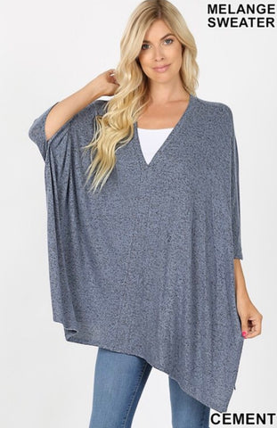 Oversized Melange Sweater Poncho Top