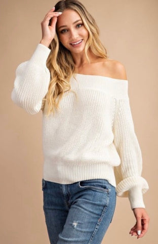 Chunky Knit Off Shoulder Sweater Ivory