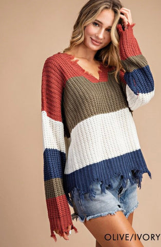 Heavy Distressed Chunky Knit Sweater Olive/Ivory