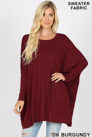 Oversized Sweater Poncho w/Sleeves Burgundy