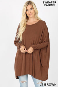 Oversized Sweater Poncho w/Sleeves Brown