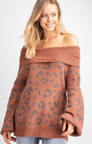 Leopard Pattern Pullover Knitted Sweater