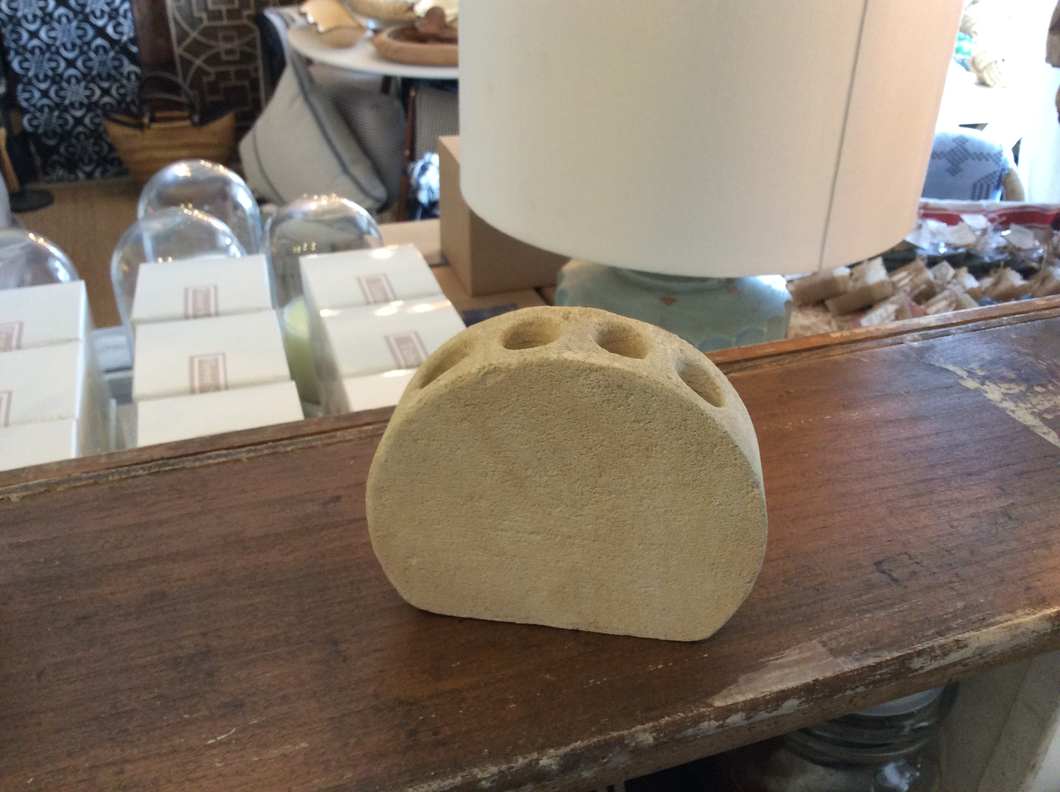 Vintage concrete tooth brush holder