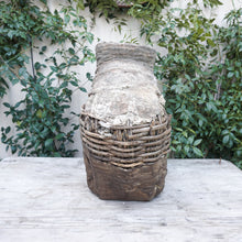 Load image into Gallery viewer, large clay and wicker decorative vessel like a primitive fishing basket