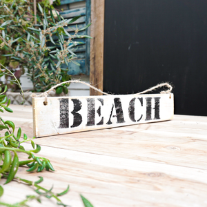 handmade painted distressed wood sign beach