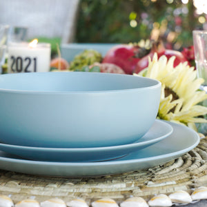 "Sky Blue colored stoneware dinner service set Service for 1 this set includes: a 10.5"" dinner plate, an 8.25"" salad plate, a 32 Oz/7.5"" dinner bowl, and a 22 Oz oversized mug"