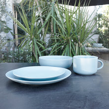 "Load image into Gallery viewer, Sky Blue colored stoneware dinner service set Service for 1 this set includes: a 10.5"" dinner plate, an 8.25"" salad plate, a 32 Oz/7.5"" dinner bowl, and a 22 Oz oversized mug"