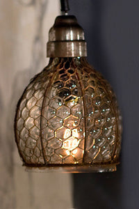 Chicken Wire and Glass Wide Pendant Lamp
