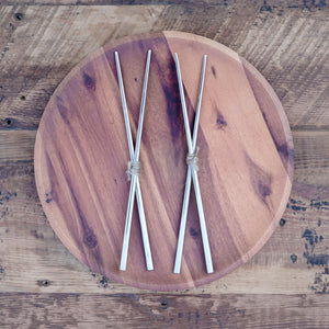 two pairs of stainless steel chopsticks
