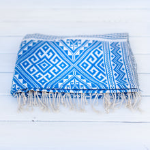 Load image into Gallery viewer, Cobalt Ikat Throw