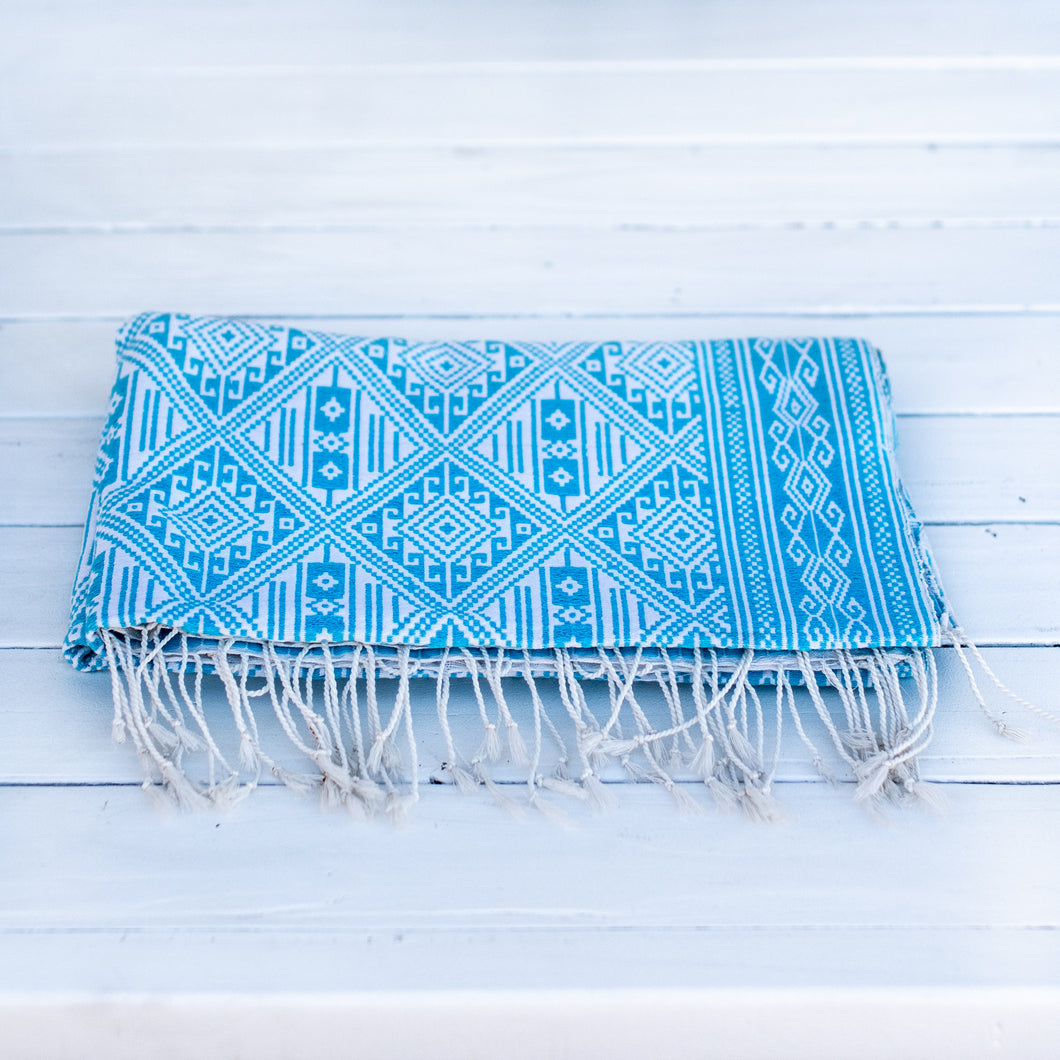 Aqua Ikat Throw