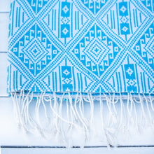Load image into Gallery viewer, Aqua Ikat Throw
