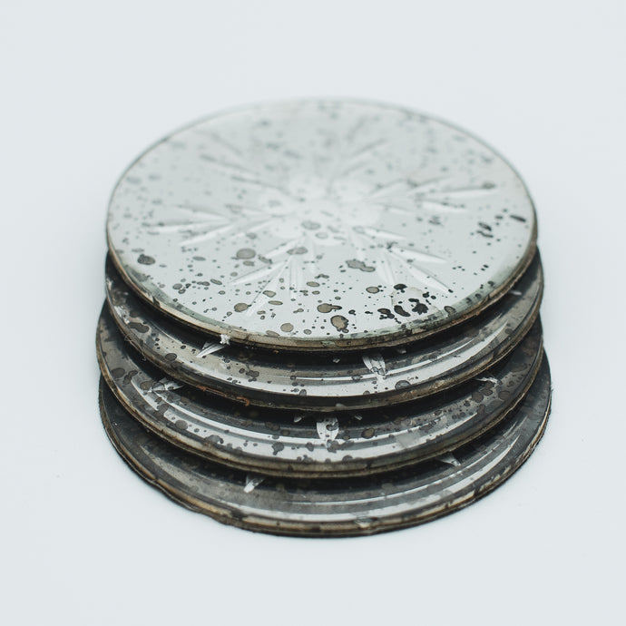 vintage french glass coaster set