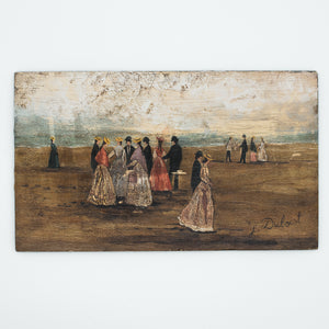 french vintage beach scene painting