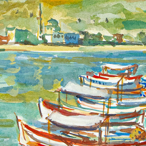 french boats watercolor maurice TISSEYRE