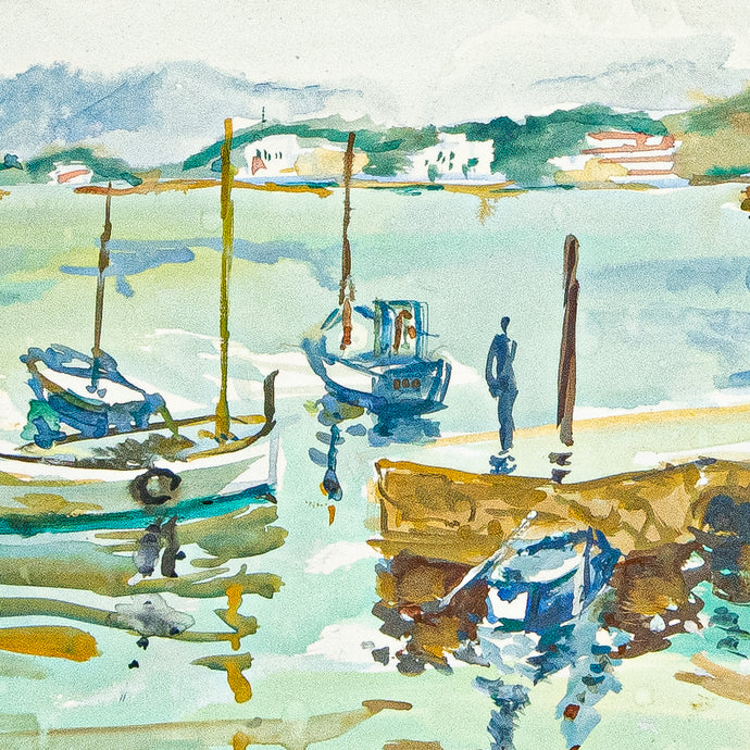 harbor scene watercolor maurice tisseyre