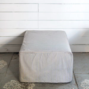 French Ticking Slipcovered Ottoman