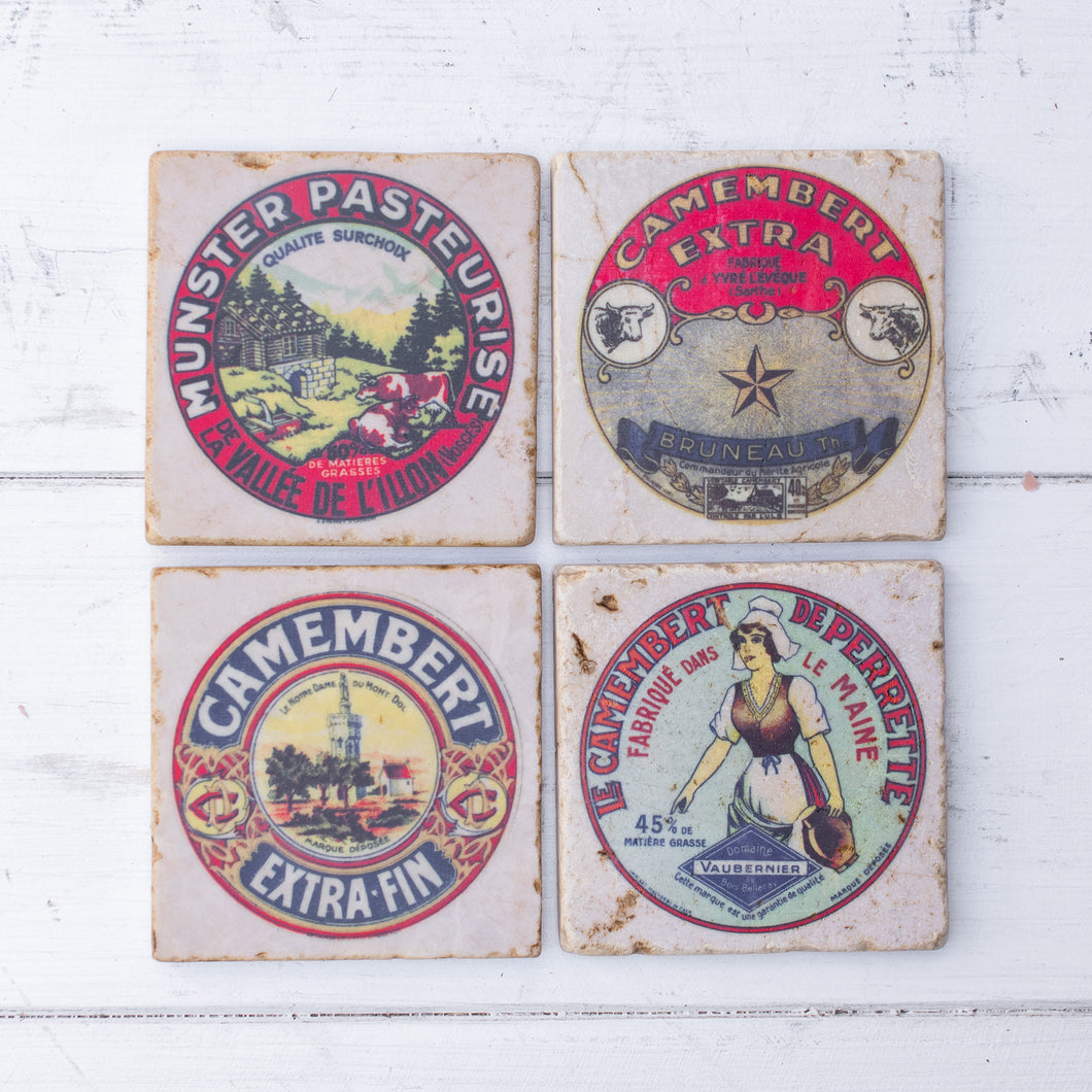 vintage cheese label marble coaster set