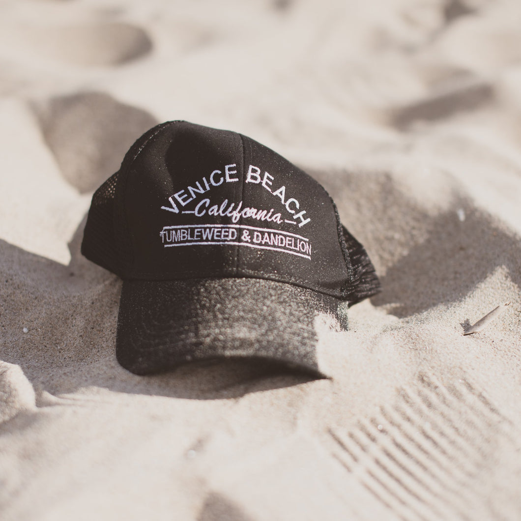 Venice beach trucker hat black