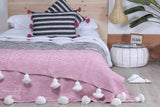 Moroccan Cotton Pom Pom Blanket, Watermelon (BC13C)