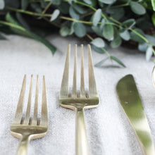 Load image into Gallery viewer, gold matte colored modern stainless steel flatware service for 4